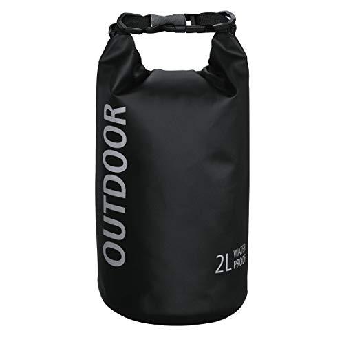 Hama wasserdichter Packsack, 2 l, Dry Bag mit Rolltop Verschluss, Trageriemen, (wasserdichter Seesack aus Tarpaulin, wasserfeste Outdoor Tasche für Rafting, Kajak, Camping) schwarz