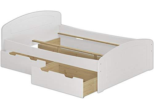Erst-Holz® Funktionsbett 140x200 Doppelbett 3 Bettkasten Seniorenbett Ehebett Massivholz Weiß 60.50-14 W oR