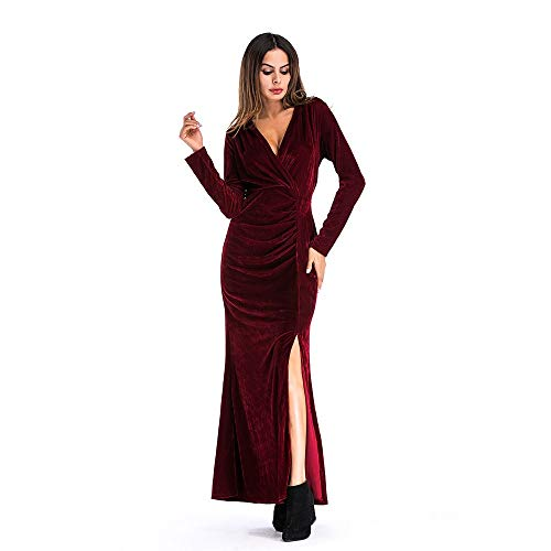 Herfst en Winter effen kleur Deep V hoge taille met lange mouwen Split Rok Gold Velvet Casual Wedding Banquet Dress (Size : XL)