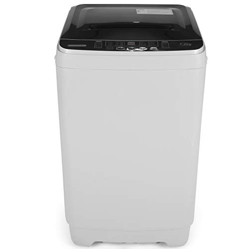 Nictemaw Washing Machine Portable Full-Automatic Washer with 1.66 Cu.ft/15.6lbs Capacity Compact Laundry Washer Spin with Drain Pump, 10 Washing Programs, Top Load LED Display
