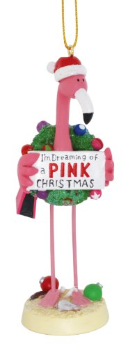 Cape Shore Pink Flamingo in Santa Hat Dreaming of a Pink Christmas Holiday Ornament