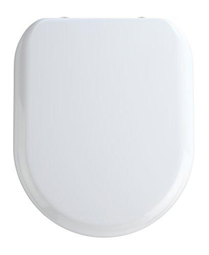 WENKO Premium WC-Sitz Santana - Antibakterieller Toiletten-Sitz mit Absenkautomatik, rostfreie Fix-Clip Hygiene Edelstahlbefestigung, Duroplast, 37 x 44 cm, Weiß