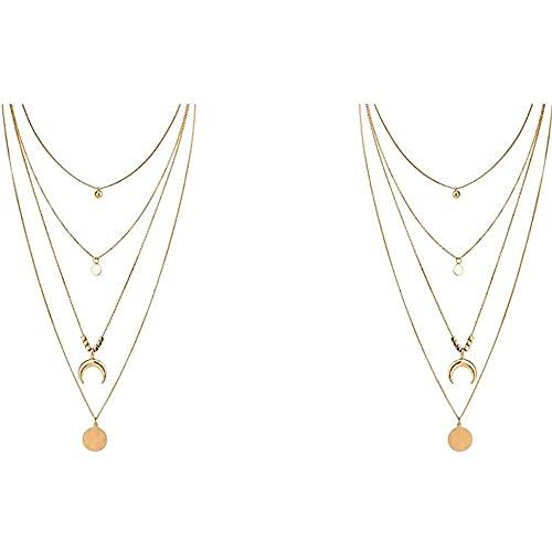 chaosong shop 2 piezas elegantes bohemias mujeres de múltiples capas de cristal de la luna de la moneda