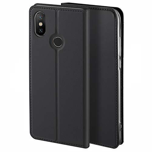 HoneyHülle für Handyhülle Xiaomi MI Max 3 Hülle Premium Leder Flip Schutzhülle für Xiaomi MI Max 3 Tasche, Schwarz