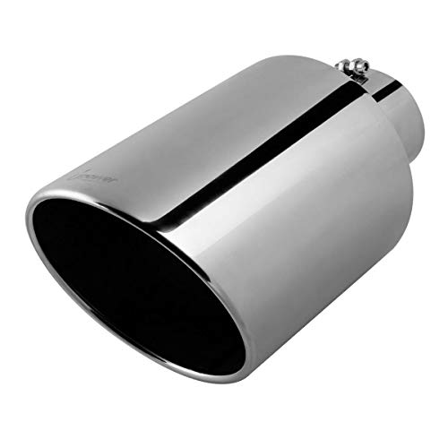 """Upower 4"""" to 10"""" Exhaust Tip Mirror Polished 4 Inch Inlet 10 Inch Outlet Exhaust Tailpipe 18"""" Length Bolt-On 45 Degree Angle Cut Tail Pipe"""