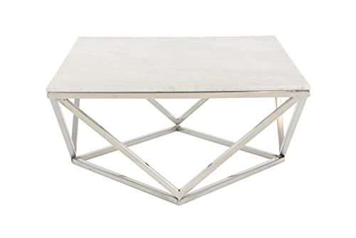Deco 79 Tavolino quadrato in marmo bianco con base geometrica moderna in acciaio inox, 73,7 cm
