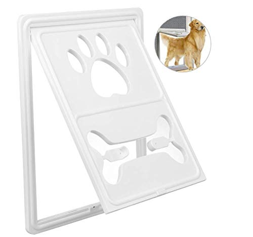 K-Flame Katze Tür Multifunktionale Snap Latch Footprints Haustier Screen Door Rotary Dog Gate Weg Praktische Pet Passage Pet Moskito Screen Door- White