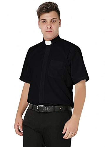 IvyRobes Men's Short Sleeves Tab Collar Clergy Shirt Medium Black (Necksize 15.5')
