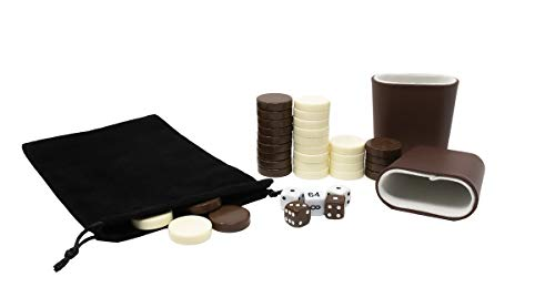 DA VINCI 1.25 inch Brown and Ivory Replacement Backgammon Pieces with 5 Dice and Dice Cups