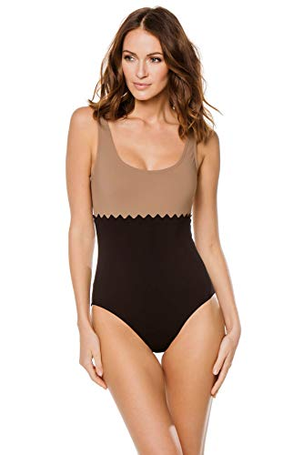 Karla Colletto Women's Rick Rack Over The Shoulder One Piece Swimsuit Black/Latte 6