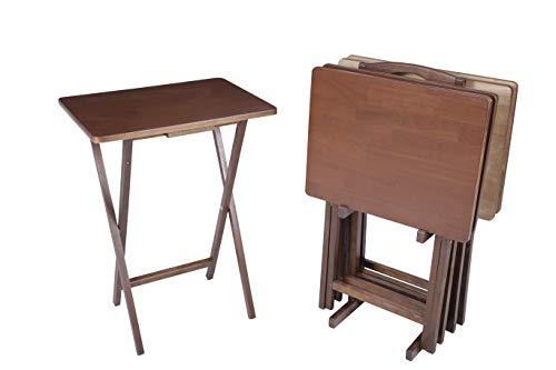 PJ Wood 5-piece Folding TV Tray & Snack Table - Honey Oak Finish Rubberwood