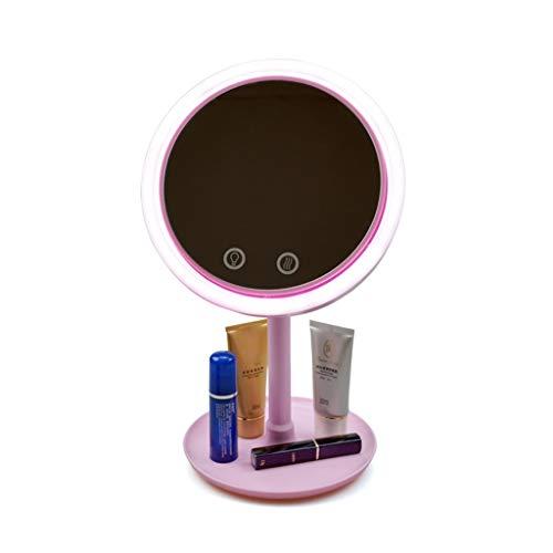 Soarl Led-make-upspiegel, met geïntegreerde ventilator, HD beauty, make-upspiegel, princess Mirror Vanity Table, slaapkamer, nachtkastje, badkamer, USB