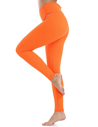XTUPO High Waist Leggings Soft Slim Yoga Pants Tummy Control Workout Leggings 4 Way Stretch Fabric Orange S