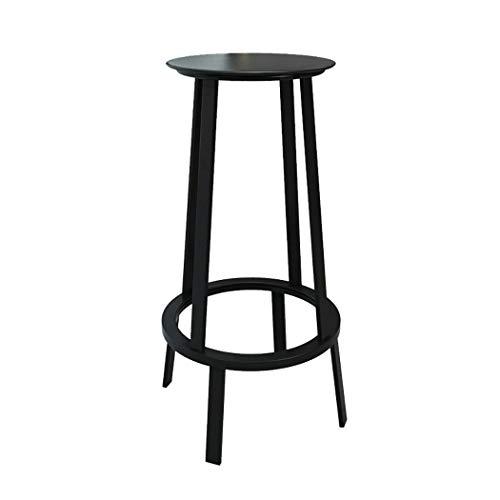JQQJ barkruk, industriële, 360 graden draaibaar, 1 kruk, 4 poten van smeedijzer, barkruk, kruk 33x33x75cm Zwart