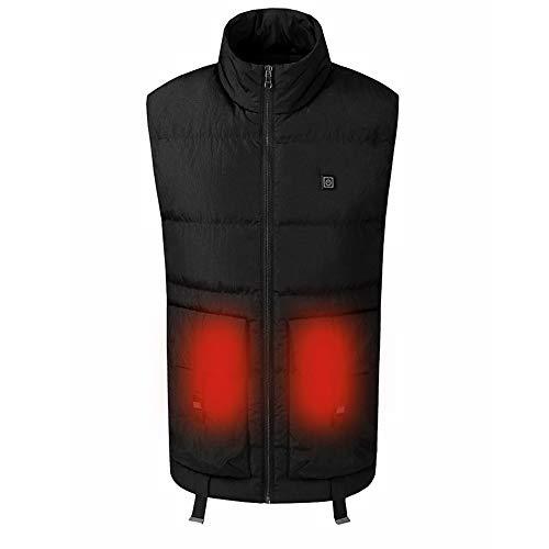 Roboraty elektrische warme kleding voor heren, wasbaar verwarmingsvest, winter verwarmd vest, met USB-interface, infrarood verwarming, voor outdoor-sporten, wandelen en winter (cadeau) 4XL zwart