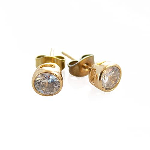 LASE C9, Pendientes para Mujer y Niña. Diferentes Modelos de Aros, Perlas y Estrellas. Joyas Elegantes para Mujer, Complementos de Moda y Tendencia. (15 Gold, S)