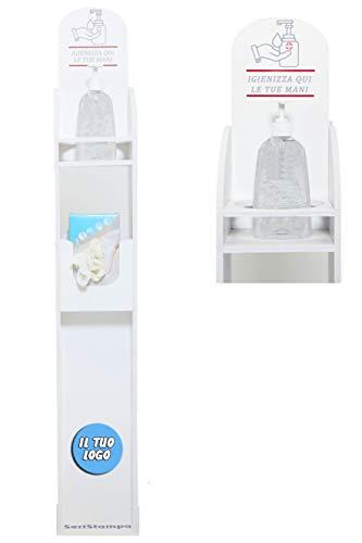 Colonnina Igienizzante Mani con Logo Personalizzato - Piantana con Spazio per Dispenser Gel Disinfettante e Confezione di Guanti