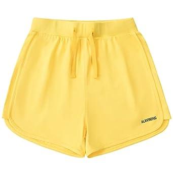 ALAVIKING Girls Cotton Shorts Athletic Running Shorts with Elastic Waistband Workout Shorts for Girls Size 3-12 Years  Yellow-m
