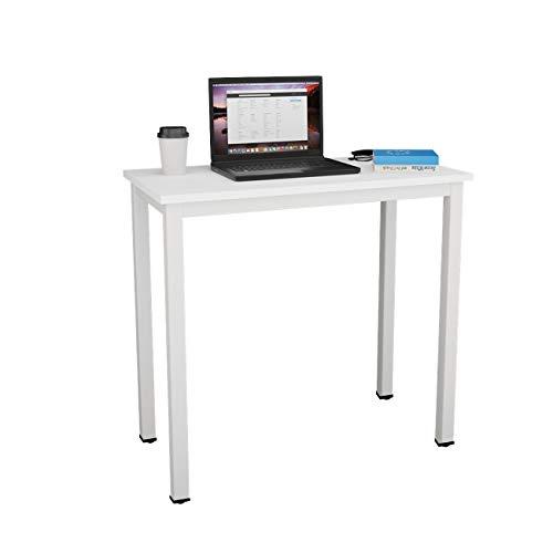 DlandHome Computertisch Schreibtisch, anständig und Stabil 80 x 40 cm Holz, Moderner Bürotisch Arbeitstisch PC Laptop Tisch für Büroarbeit und Hausaufgaben, Weiß & Weiß