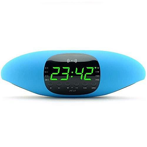 SEESEE.U Reloj de alarma de pantalla digital grande Bluetooth Altavoz Audio Tarjeta NFC FM APP Software Función de control inteligente U Disco Playback, Azul