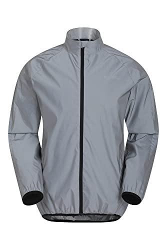 Mountain Warehouse Veste Réfléchissante 360 Homme - Veste Imperméable Unisexe, Respirante, Poches Avant, avec Zip - Idéale pour Le Cyclisme & Le Running Argent M