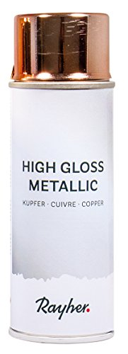 Rayher 34424638 High gloss Metallic Spray, kupfer, Dose 200 ml, hochglänzender Metallic-Effektspray, Acrylspray für Metalleffekte, für den Innenbereich