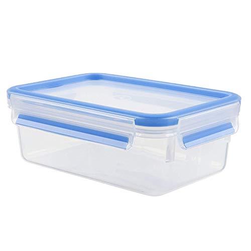 Tefal Recipiente Tapa de 1 litro y Cierre Rectangular (sin BPA, hermético, antigoteo, Apto para lavavajillas, microondas), Azul/Transparente, 1 L