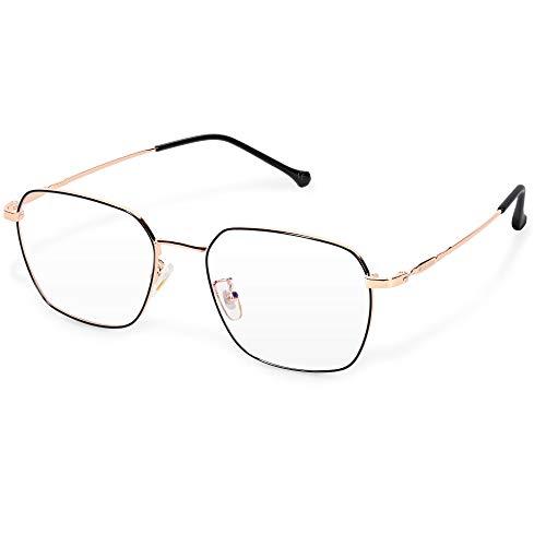 Navaris Retro Brille ohne Sehstärke - Damen Herren Vintage 50er Nerd Brille - Anti Blaulicht Computer Nerdbrille ohne Stärke - Metall Bügel Fassung