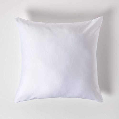 Homescapes Kissenbezug 80 x 80 cm – 100% Bio-Baumwolle Fadendichte 400 Perkal – Kissenhülle mit Reißverschluss – weiß