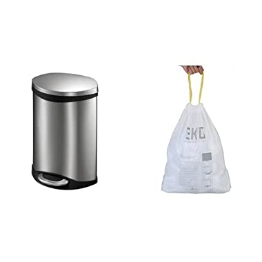 Household Essentials EKO Stainless Steel Oblong Shell Step Waste Bin with Soft Close Lid, 6-Liter with 40 Liners