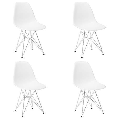 Un conjunto de cuatro sillas medievales de comedor, pies de metal, líneas de metal liso, adecuado para restaurantes de cocina, lugares deportivos al aire libre, etc. (blanco)