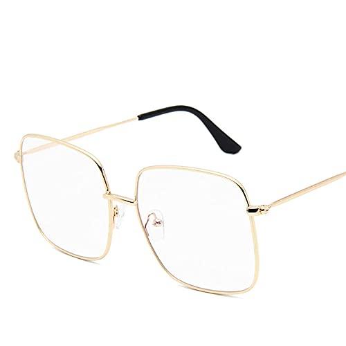DLSM Gafas de Sol de Moda Mujeres Vintage Color Color Sun Glasses Square Big Marco al Aire Libre Adecuado para Gafas de Sol de Pesca de Golf-Oro
