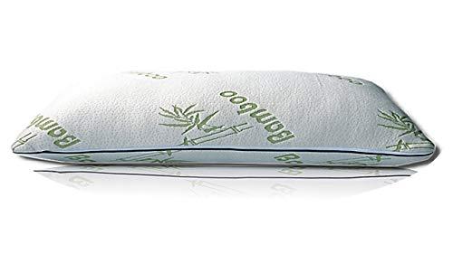 Bergmann Weiches Kopfkissen mit Bambusbezug, 40x80cm, kuscheliges Schlafkissen mit 1400 gr Polyester-Füllung + Gratis Baumwolle-Bezug