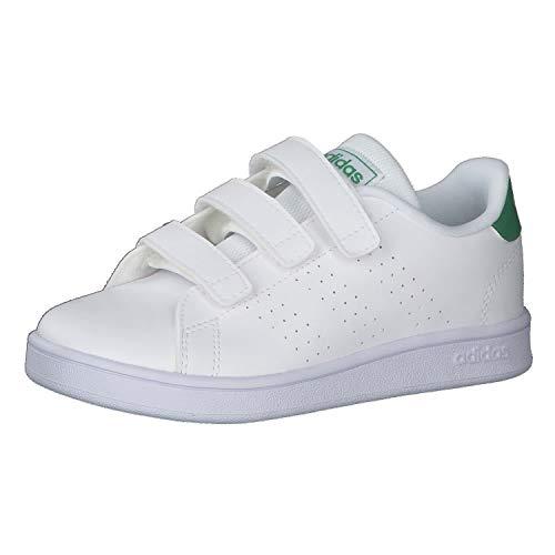 adidas Advantage C, Scarpe da Tennis, Bianco (Ftwr White/Green/Grey Two F17), 31 EU