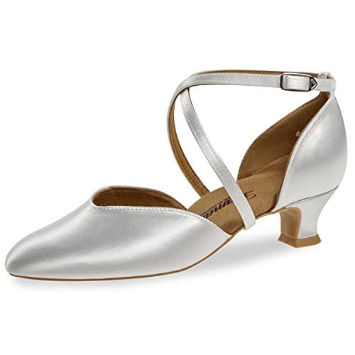 Diamant 170-013-092-Y - Zapatos de baile y novia para mujer, color blanco satinado, ancho normal, tacón de 4,2 cm, suela VarioSpin, Blanco, 36 EU