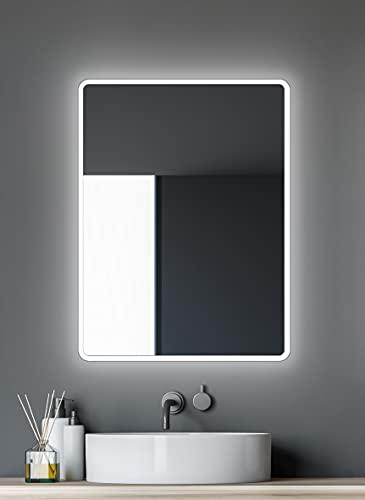 Badspiegel mit Beleuchtung Talos Moon - Badezimmerspiegel 80 x 60 cm - mit umlaufenden Raumlicht - Lichtfarbe neutralweiß - hochwertiger Aluminiumrahmen - vertikale und horizontale Aufhängung