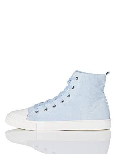 FIND Hi-Top Canvas Hohe Sneaker, Blau (Washed Blue), 41 EU