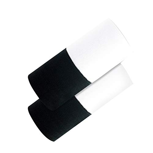 ABOOFAN Muñequera de dos colores de absorción de sudor suave muñeca de entrenamiento de baloncesto Muñequera de doble capa (negro, blanco)