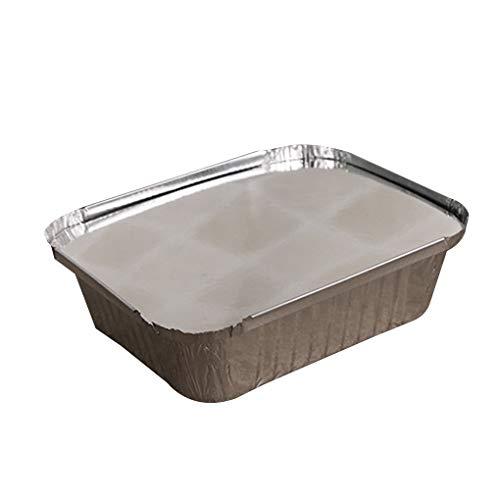 Guangcailun 10pcs Forma de rectángulo de Papel de Aluminio Pan para Llevar contenedores de Alimentos con Tapas de Aluminio/sin Tapa