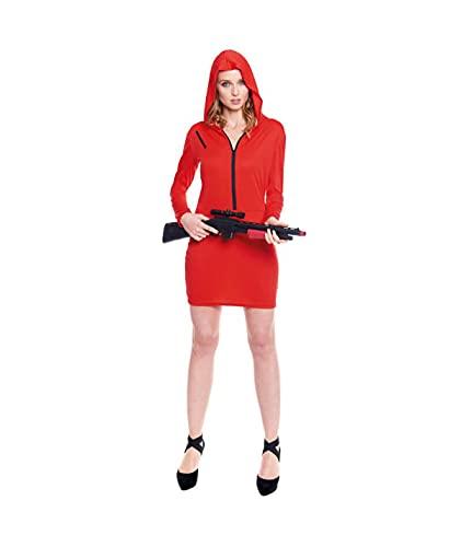 Hipex Collection Disfraz Vestido Atracadora Mono Rojo Para Mujer, Disfraces Adultos para Cosplay, Halloween, Carnaval (S)