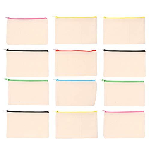PIXNOR 12 Stück Reißverschluss Bleistift Tasche Stift Aufbewahrung Leinwand Tasche Kosmetische Toilettenartikel Pinsel Beutel Mehrzweck Briefpapier Aufbewahrungsorganisator (Zufällige