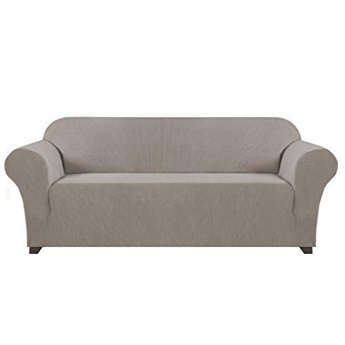 Lycra Jacquard Sofabezug für Wohnzimmer, Maschinenwaschbar, Stilvolle Möbelabdeckung / Schoner mit Spandex Jacquard Kleine Karos Möbelschutz Abdeckung für Sofa und Couch (3-Sitzer, Taupe)