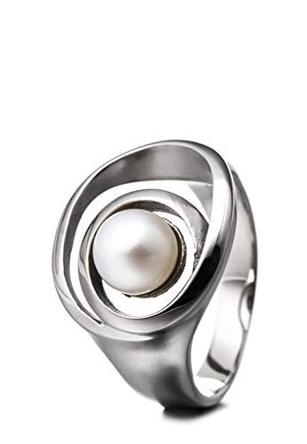 Heideman Ring Damen Perlenring Schlaufe aus Edelstahl Silber farbend poliert Damenring für Frauen mit echter Süßwasserperle Weiss
