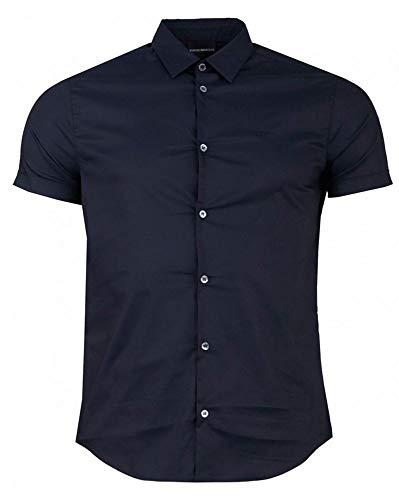 Armani Herren Slim Fit Kurzarm Shirt L Blau