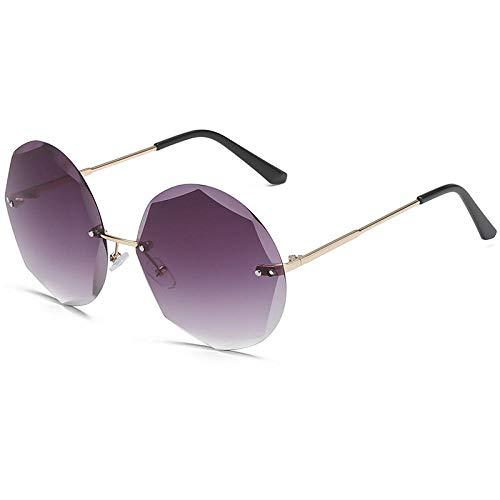 hqpaper Gafas de sol redondas sin montura de metal con ribete poligonal-Montura dorada gris degradado