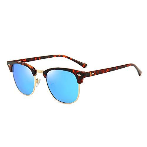 Dollger - Gafas de sol polarizadas con marco semi sin montura clásica, gafas de sol de marca retro para hombres y mujeres, protección UV 400, (Verres Bleu Léopard), Suitable for all face shapes