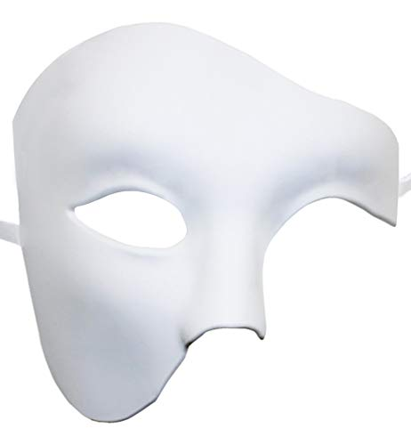 KEFAN Herren Maske Masquerade Maske Phantom der Oper Half Face Maske (Wei�)
