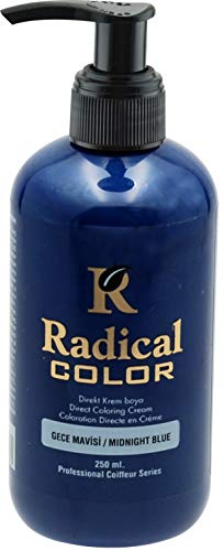 Radical Direct Coloring Haarcreme & Semi Permanent Haarfärbemittel 250 ml (Mitternachtsblau)
