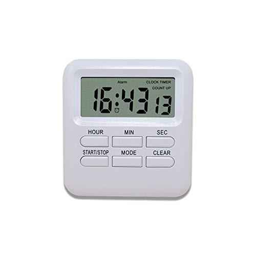 DOBAOJIA Temporizador Despertador Reloj Digital 3 en 1, Temporizador de Cocina Multifunctional Respaldo Magnético, Cronómetro Cronógrafo Conde Arriba y Abajo Vibración/Bip, Operación Fácil (Blanco)