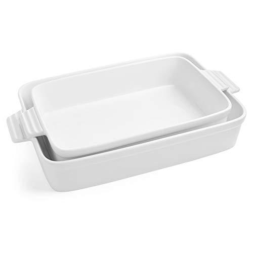 Sweese 520.201 Porcelain Baking Dishes, Non-stick Lasagna Pans, Large Rectangular Baking Pan set, Casserole Dishes, Set of 2, White